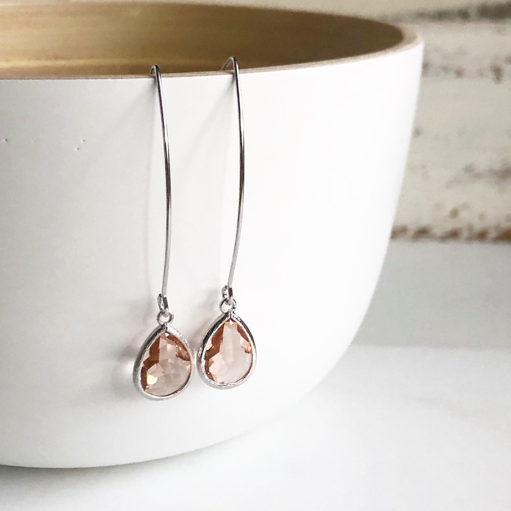 Gorgeous Silver Champagne Drop Earrings. Perfect for everyday, bridal parties, and formal events!