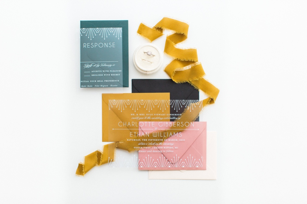 Our Deco Classic Clear Wedding Invitations are classically elegant. Featuring retro decor that borders the top and bottom of the card