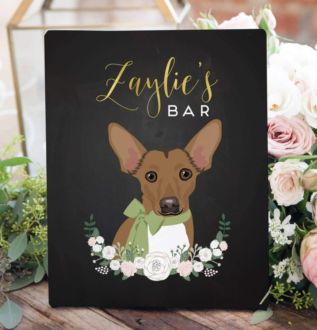 Our chalkboard wedding sign features an illustrated portrait of your pet!