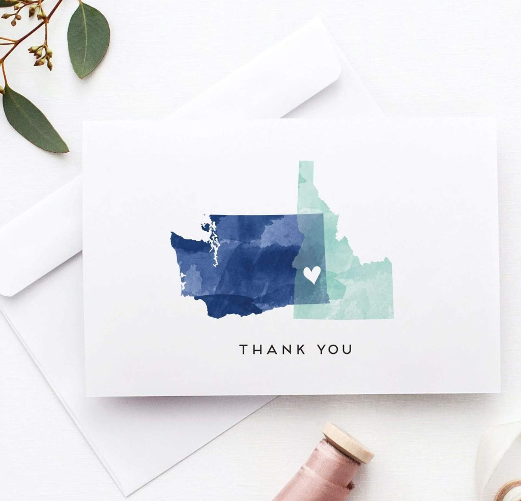 Our Watercolor StateLove Wedding Thank You Cards are the perfect way to say thank you to guests after your wedding. These custom works