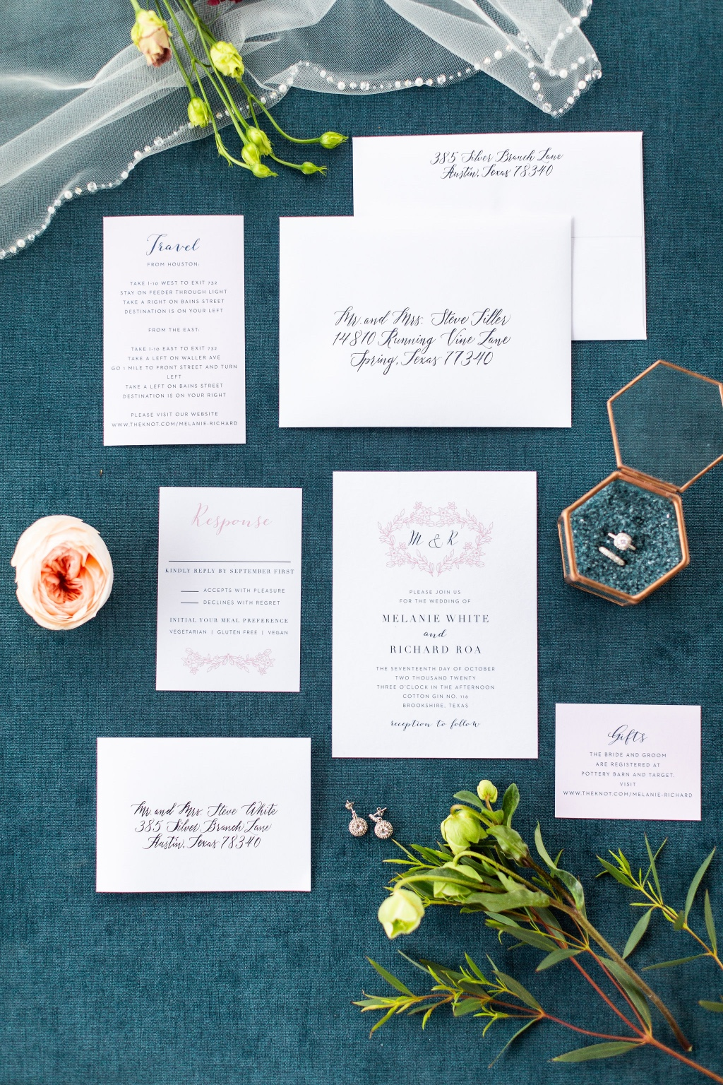 We are absolutely loving this Floral Heart Wedding Invitation Suite! Simple yet elegant, perfect for any wedding!