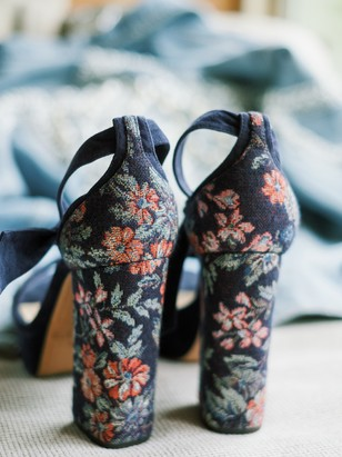 floral embroidered wedding shoes