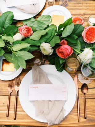 modern copper place setting