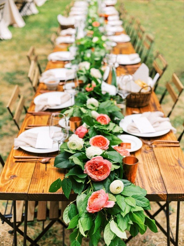 coral and white floral garland table decor