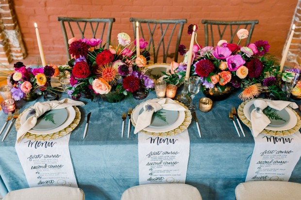 bright and funky wedding table decor