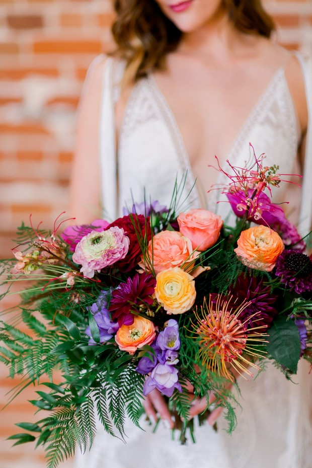 bright and funky bridal bouquet