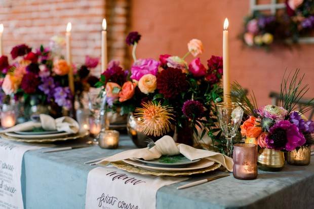 wedding table decor with bright and funky florals