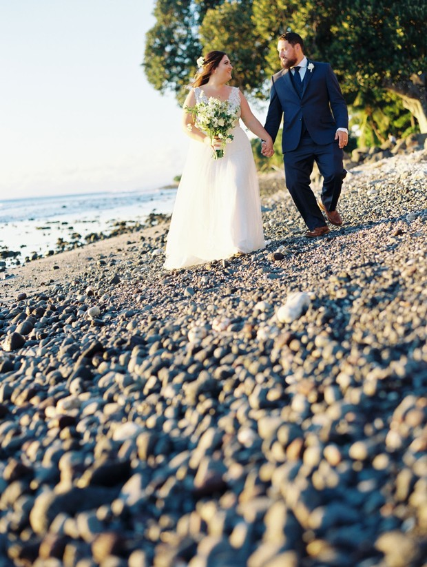 Blue And White Chic Maui Wedding