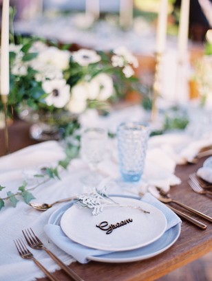 soft blue and white place setting