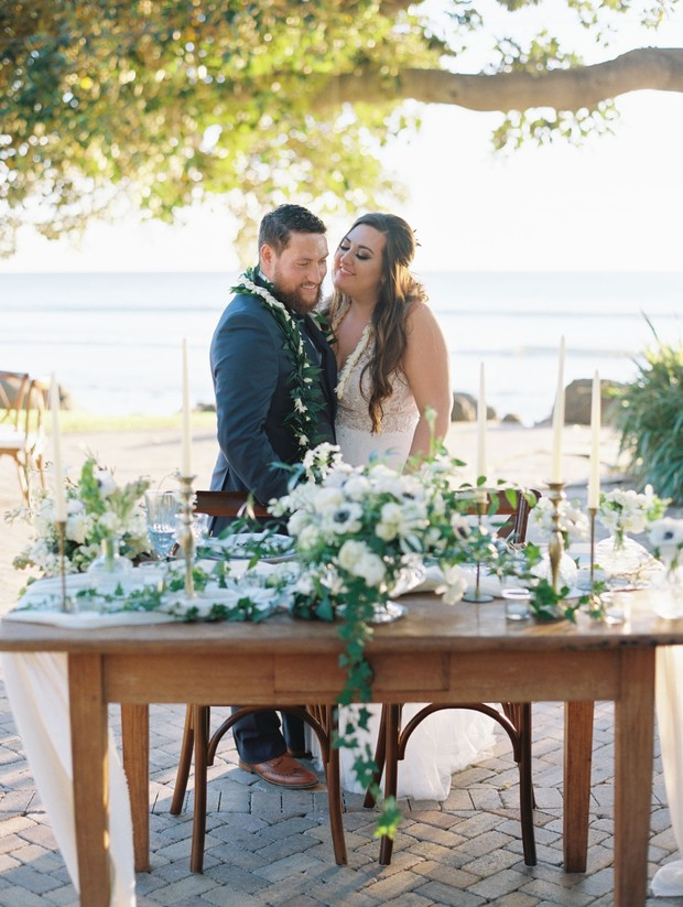 chic white wedding sweetheart table