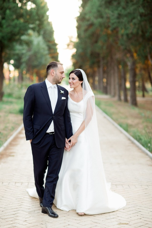 classic bride and groom look