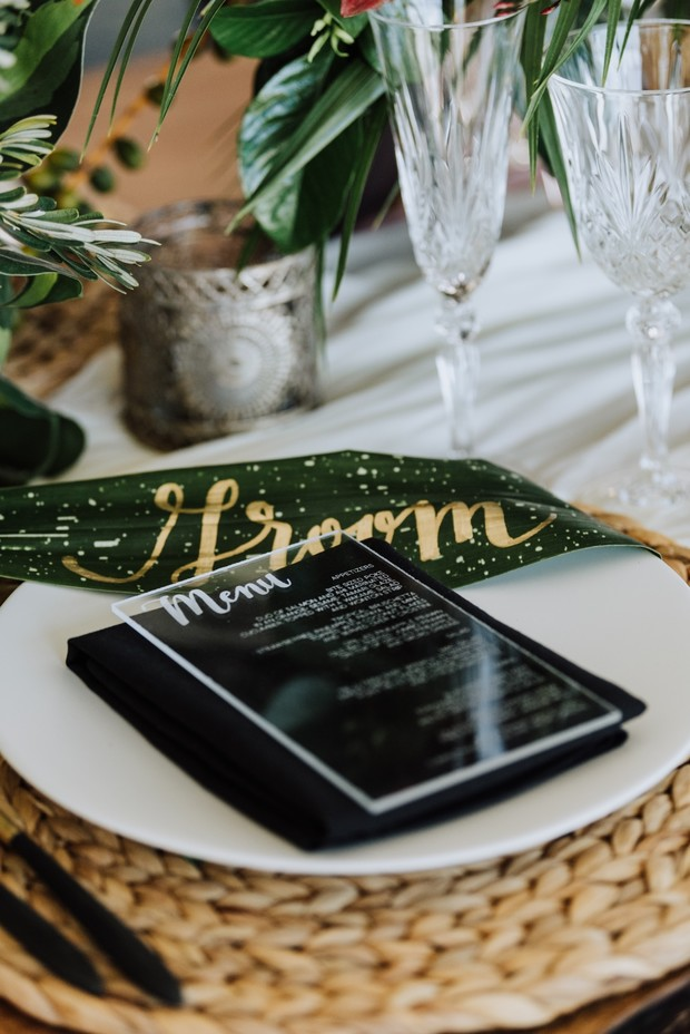 acrylic wedding menu