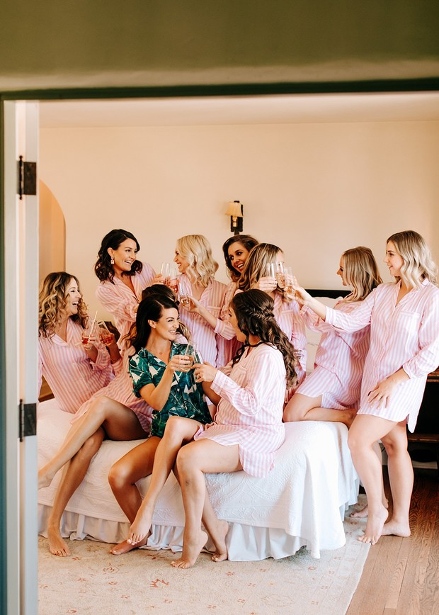 bridesmaids getting ready pjs