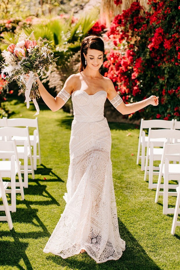 The Lovely Bride wedding dress with arm bands