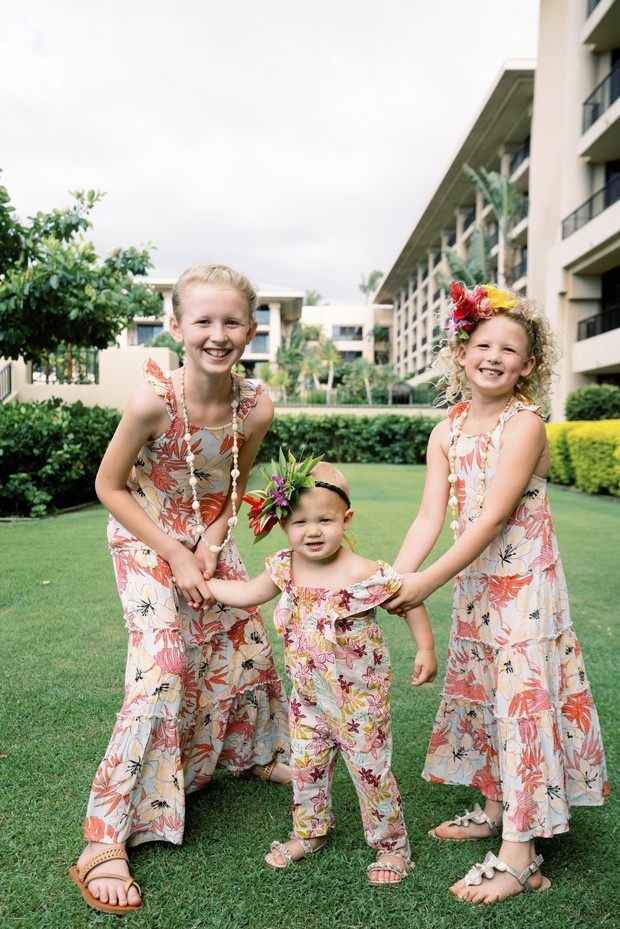 flower girls in matching floral print