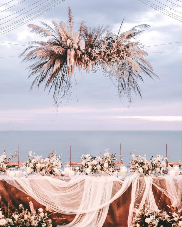 Hanging floral decor for reception