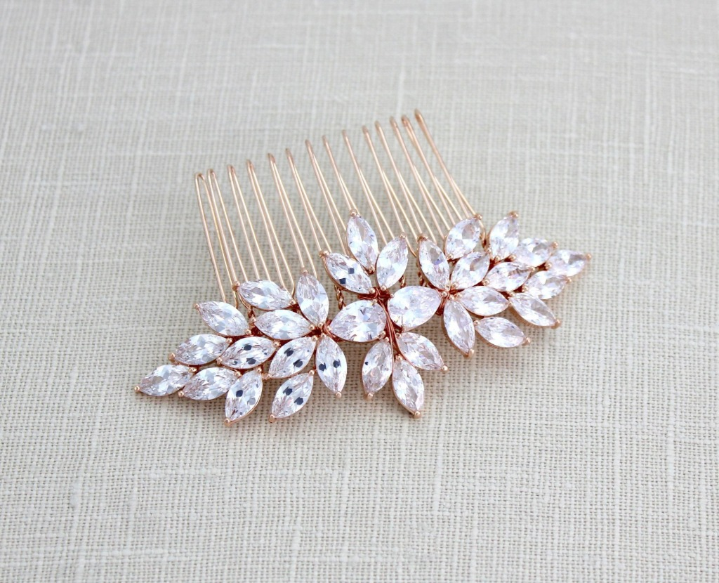 Sparkly Rose gold Bridal hair comb created with sparkly Swarovski Pure Brilliance stones in marquise and teardrop shapes.