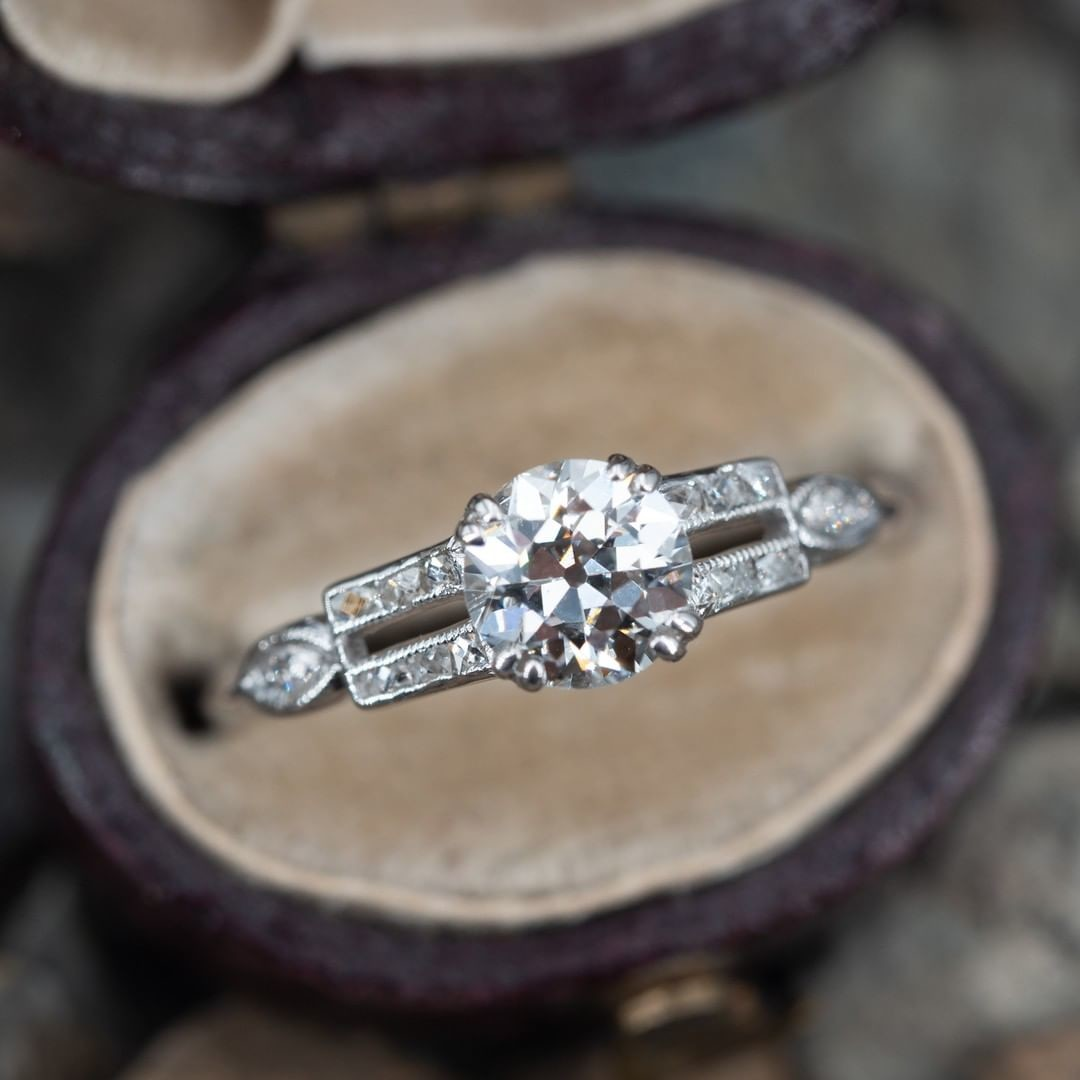 Antique Engagement Ring w/ French Cut Side Diamonds