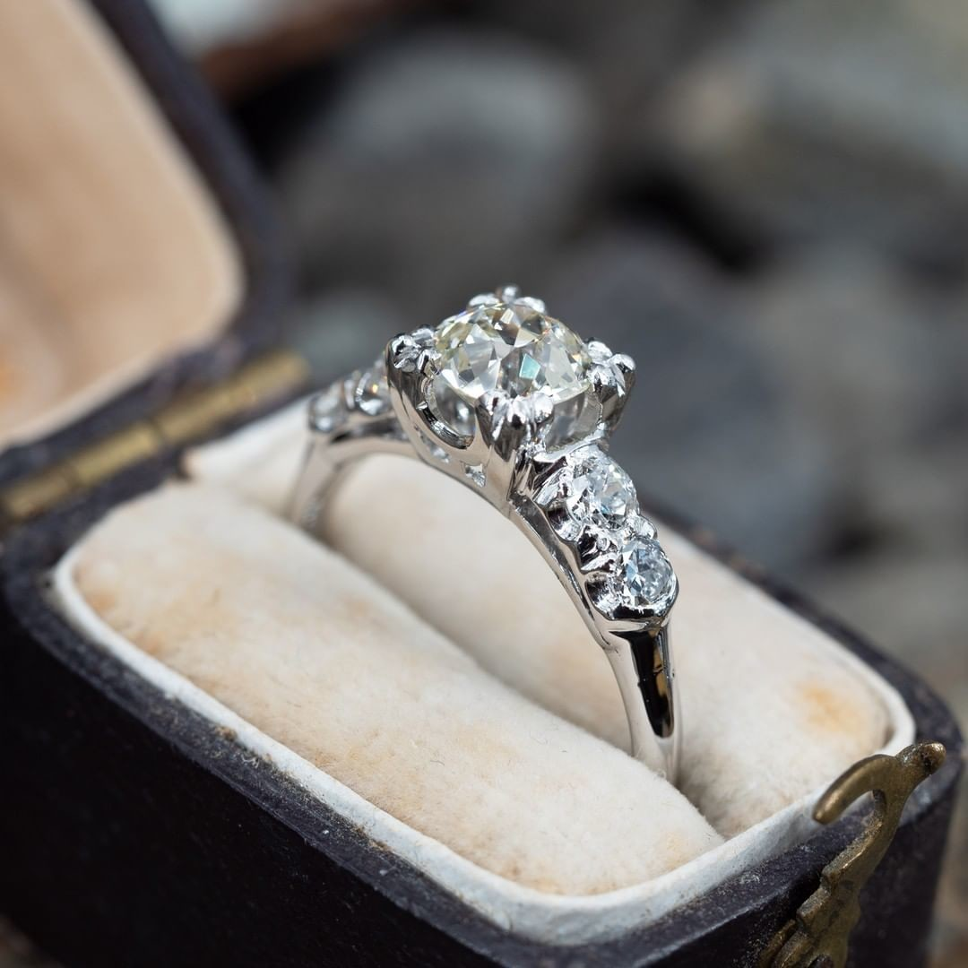 Circa 1930s Old European Cut Diamond Engagement Ring