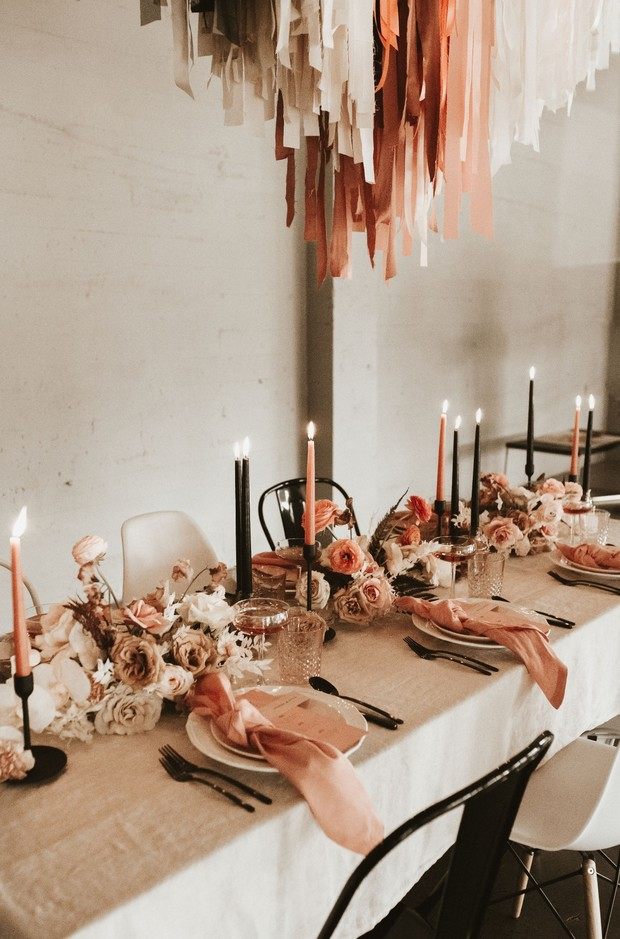black and coral wedding tablescape