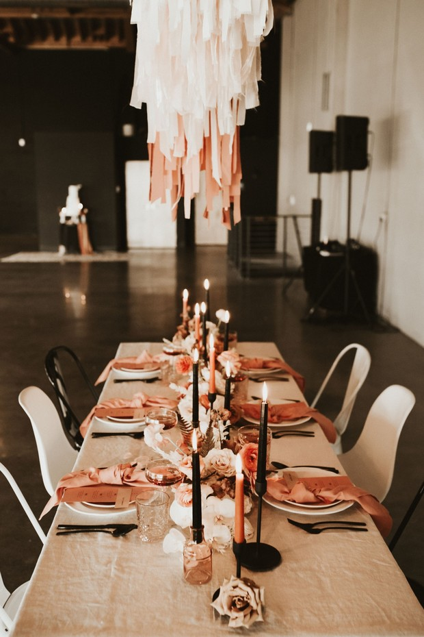 dramatic wedding tablescape