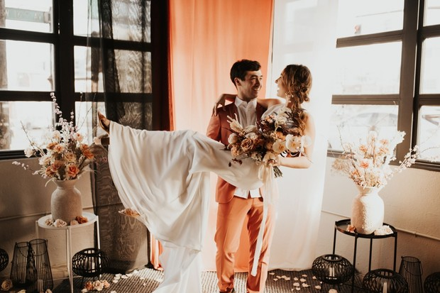 coral and black wedding inspiration