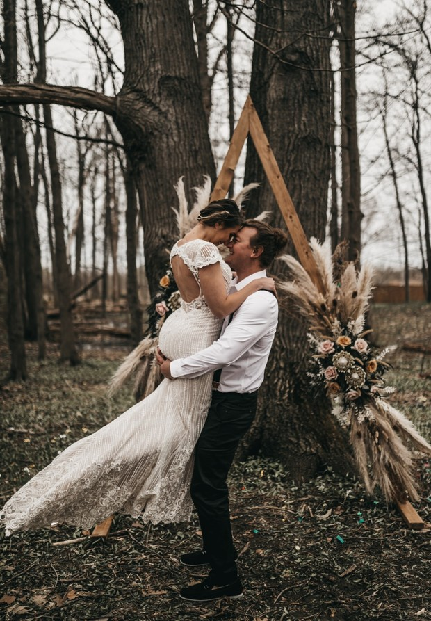 boho wedding shoot in the fall