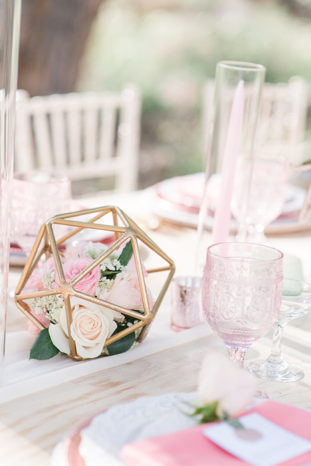gold and blush wedding decor