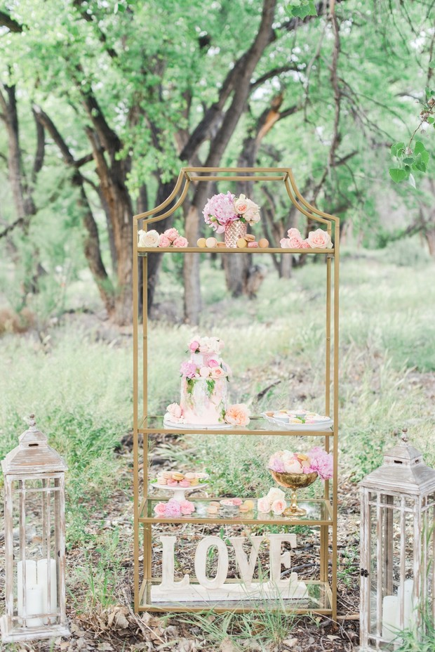 gold and pink wedding dessert stand
