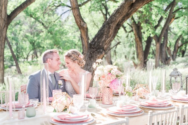 pink spring wedding table decor