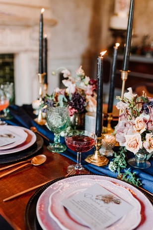 jewel tone wedding table decor