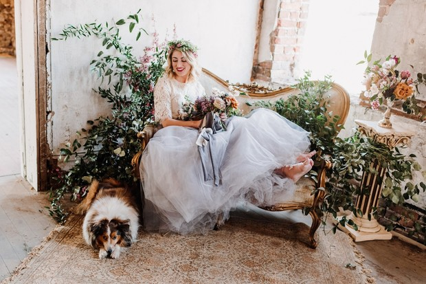 bride and wedding dog