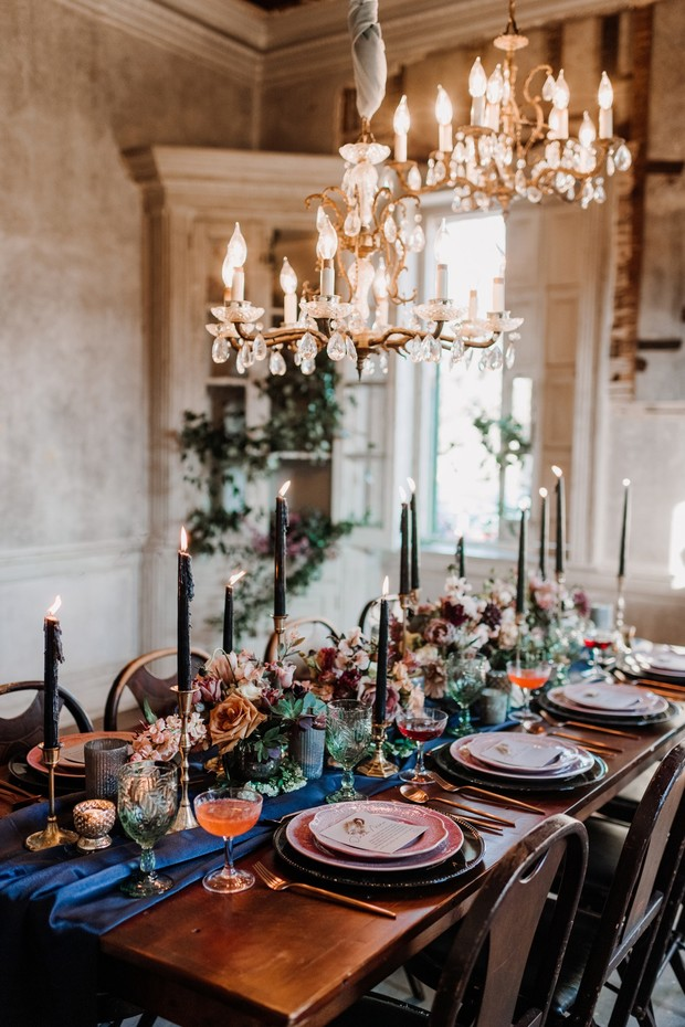 jewel toned wedding reception