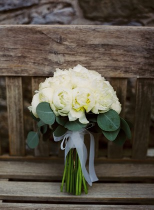 all white rose wedding bouquet
