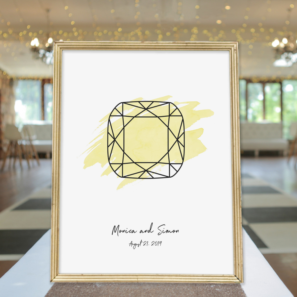 You'll be wearing your engagement ring for the rest of your life together. Personalize your wedding with this wedding welcome sign