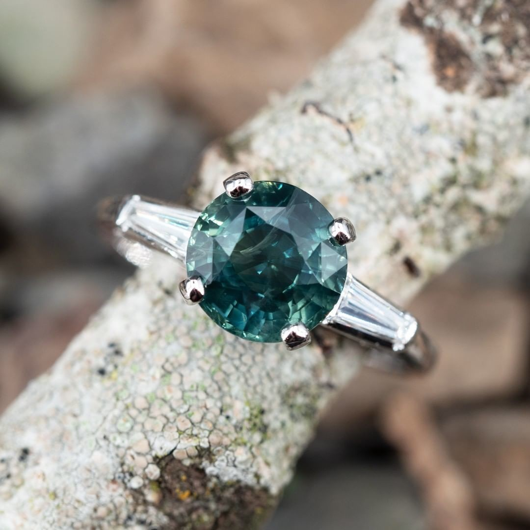 3.8 Carat Blue Green Sapphire in Vintage Platinum Baguette Diamond Setting