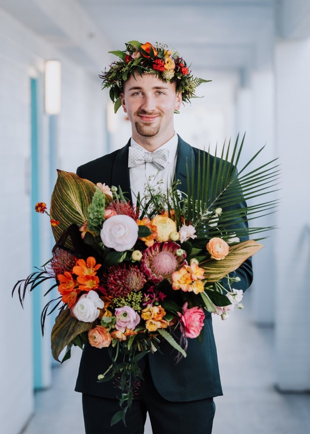 tropical floral halo and bouquet