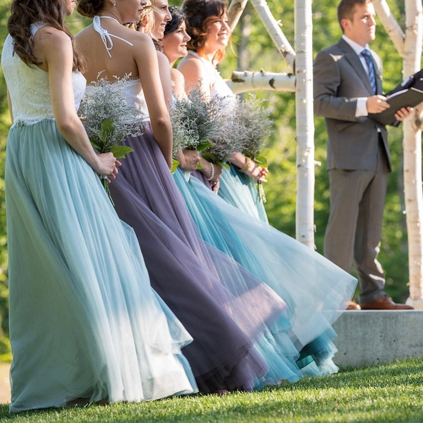 Whimsical Wisteria, pretty Powder Sky, & magnificent Mystic Mermaid tulle come together for the mix & match 'maids looks