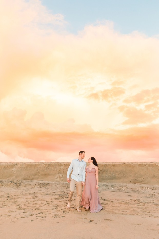 sunset engagement shoot