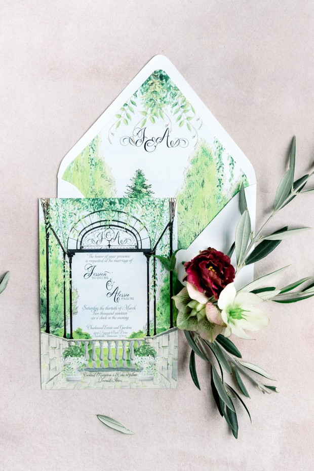 custom garden themed wedding inviation