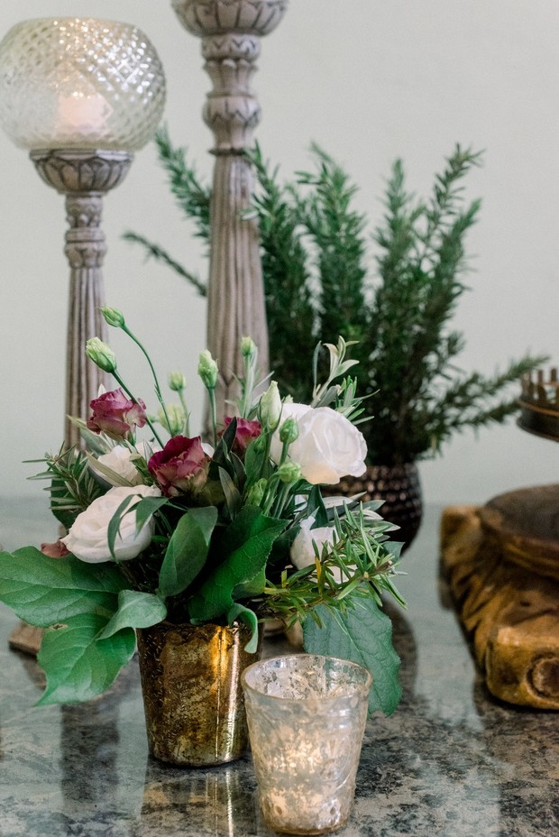 gold burgundy and white wedding floral decor
