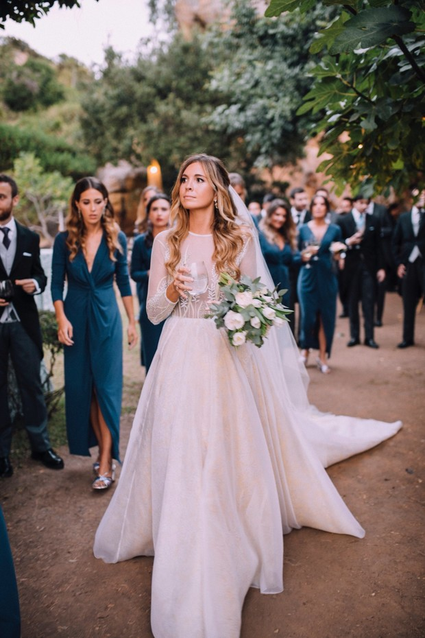 bride in gorgeous wedding dress by Navascués