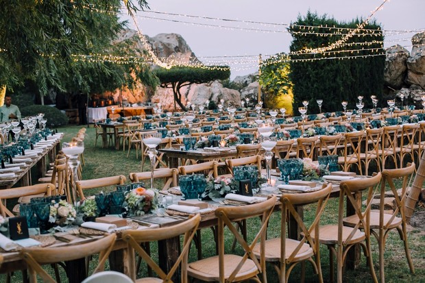 blue and natural boho chic wedding reception