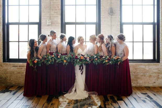 bridal party in lace and red
