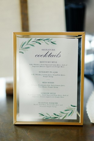 wedding cocktail menu