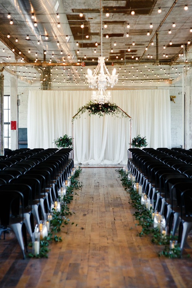 modern industrial wedding ceremony