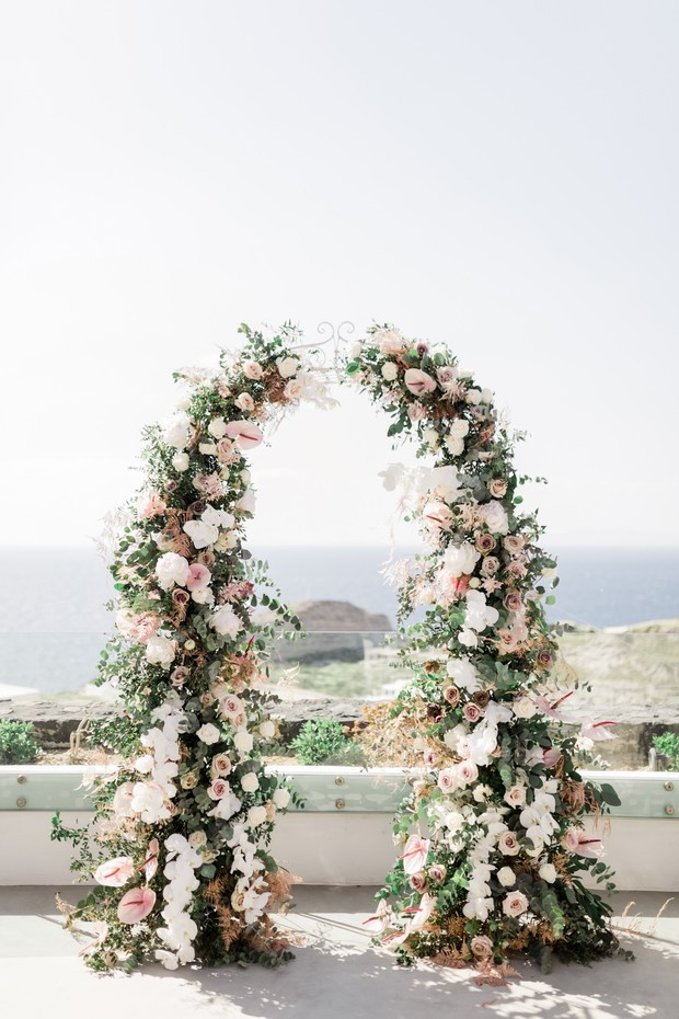 blush romantic floral wedding arch