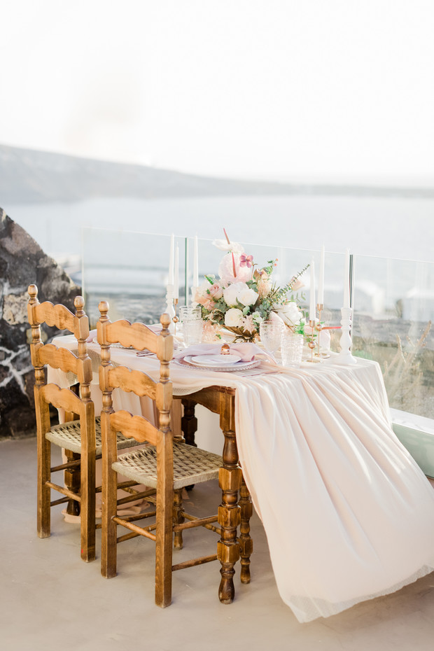 blush and gold sweetheart table in Greece