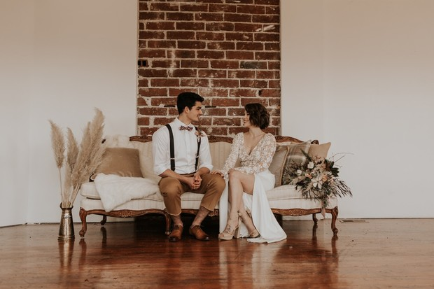 modern wedding lounge with vintage details