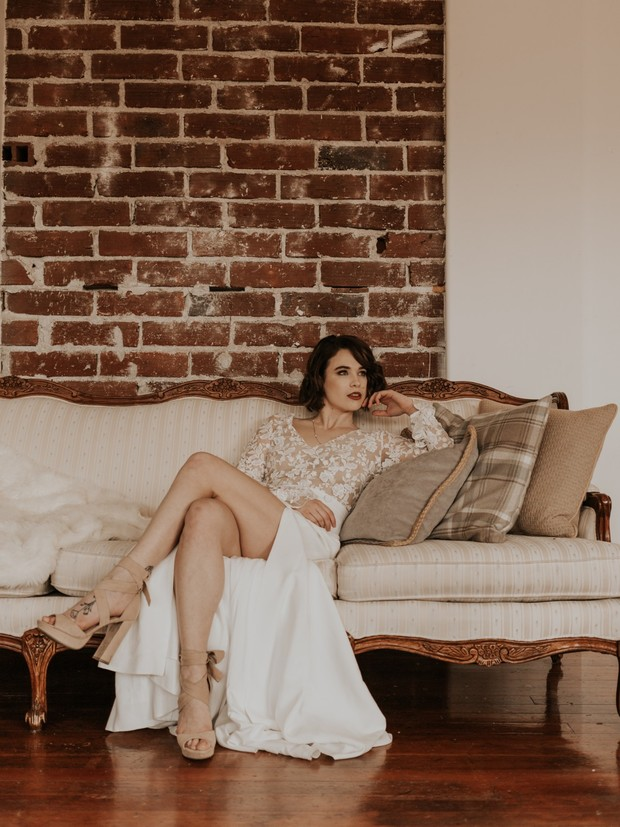 vintage wedding dress meets modern bride